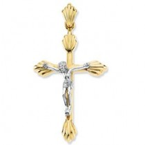 Budded Crucifix in 14k White Gold