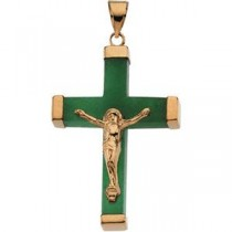 Green Jade Square Crucifix in 14k Yellow Gold