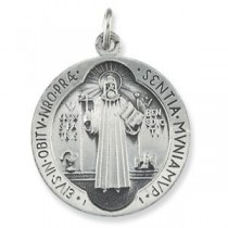 St Benedict Medal 18 Inch Chain in Sterling Silver