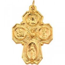 Four Way Cross in 14k Yellow Gold