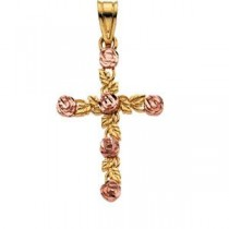 Rose Cross in 14k Yellow Gold