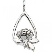Memorial Tear Rose Pendant in Sterling Silver