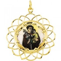 St Anthony Framed Enamel Medal in 10k Yellow Gold