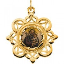 St Joseph Framed Enamel Medal in 10k Yellow Gold