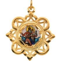 Lady of Mount Carmel Pendant in 10k Yellow Gold