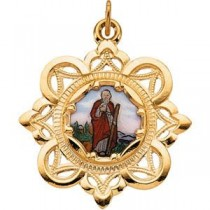 St Jude Framed Enamel Medal in 10k Yellow Gold