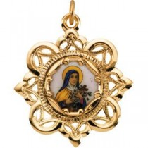 St Theresa Framed Enamel in 10k Yellow Gold