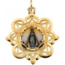 Milagrosa Framed Enamel Pendant in 10k Yellow Gold