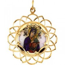 Lady of Perpetual Help Enamel Pendant in 10k Yellow Gold