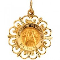 Perpetual Help Medal in 14k Yellow Gold