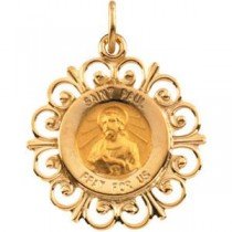 St Paul Medal in 14k Yellow Gold