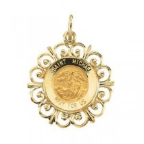 St Michael Medal in 14k Yellow Gold