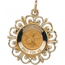St Martin Medal in 14k Yellow Gold