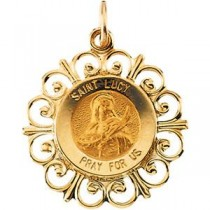 St Lucy Medal in 14k Yellow Gold