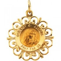 Lady Of Sorrows Medal in 14k Yellow Gold