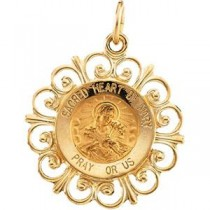 Sacred Heart Of Mary Pendant in 14k Yellow Gold