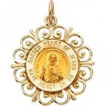 Sacred Heart Of Jesus Medal in 14k Yellow Gold