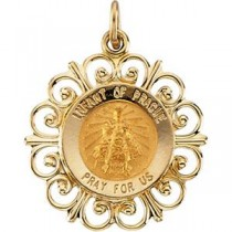 Infant Of Prague Medal in 14k Yellow Gold