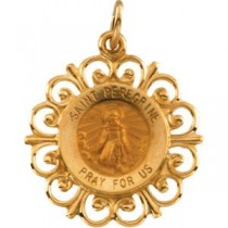 St Peregrine Medal in 14k Yellow Gold