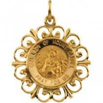 Lady of Mount Carmel Pendant in 14k Yellow Gold