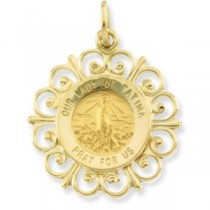 Lady Of Fatima Medal in 14k Yellow Gold
