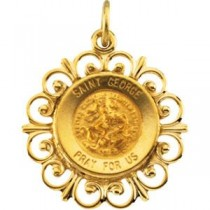 St George Medal in 14k Yellow Gold