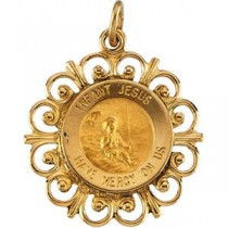 Infant Jesus Pendant in 14k Yellow Gold