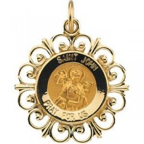 St John Medal in 14k Yellow Gold