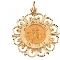 St John The Baptist Medal in 14k Yellow Gold