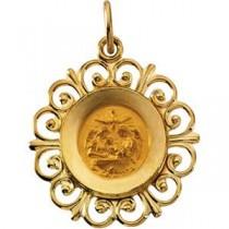 Baptism Pendant in 14k Yellow Gold