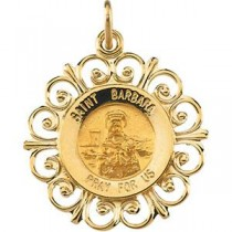 St Barbara Medal in 14k Yellow Gold