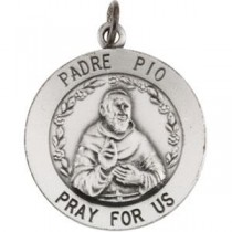 St Padre Pio Medal in Sterling Silver