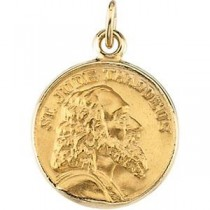 St Jude Thaddeus Medal in 14k Yellow Gold