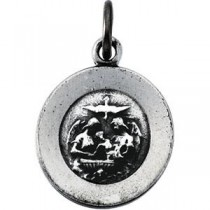 Baptism Medal 18 Inch Chain in Sterling Silver