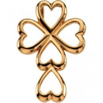 Heart Cross in 14k Yellow Gold