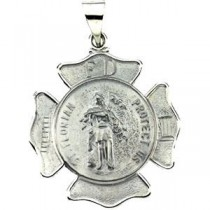 St Florian Medal in 14k Yellow Gold