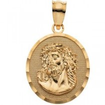 Face Of Jesus Pendant in 14k Yellow Gold