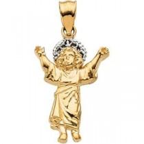 Divino Nino Infant Jesus Medal in 14k Two-tone Gold
