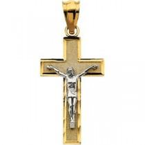 Latin Crucifix in 14k Two-tone Gold
