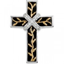 0.004 Ct. Black Enamel Diamond Cross in 14k Two-tone Gold
