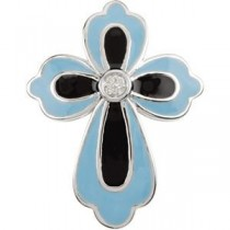 0.005 Ct. Blue Black Enamel Diamond Cross in 14k White Gold