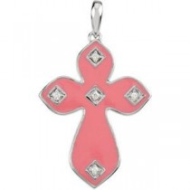 0.05 Ct. Pink Enamel Diamond Cross in 14k White Gold