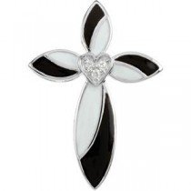 0.017 Ct. Black White Enamel Diamond Cross in 14k White Gold