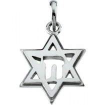 Star Of David Chai Pendant in 10k Yellow Gold