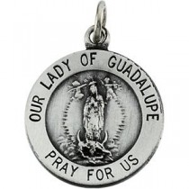 Lady Of Guadalupe Medal 18 Inch Chain in Sterling Silver