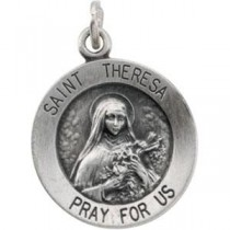 St Theresa Medal 18 Inch Chain in Sterling Silver
