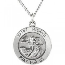 St Michael Medal 18 Inch Chain in Sterling Silver