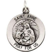 St Anne Medal 18 Inch Chain in Sterling Silver