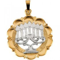 Menorah Pendant in 14k Two-tone Gold