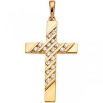 0.36 Ct. Diamond Cross in 14k Yellow Gold